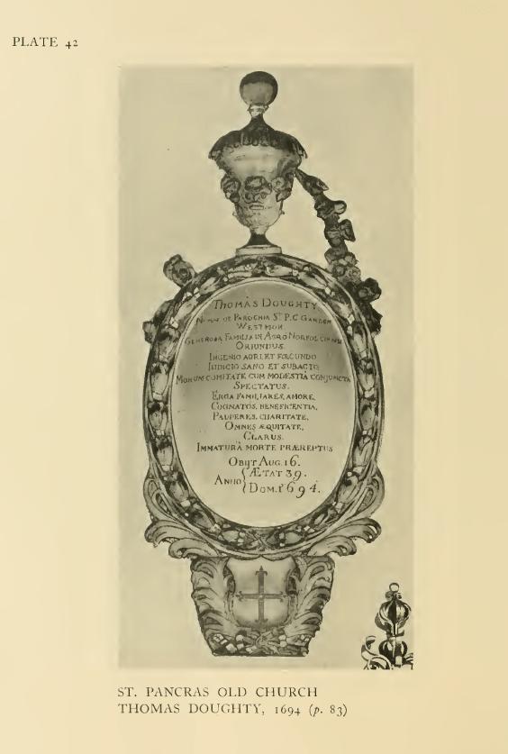 St Pancras Old Church, London NW1. Memorial to Thomas Dought (1655-94). Source: Survey of London.