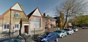 St Aldhelm's church, London N18. Hall, vicarage and church.