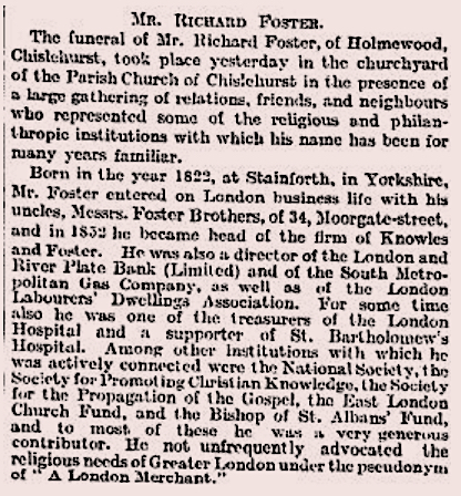 "Obiturary. ""Mr. Richard Foster."" Times [London, England] 28 Dec. 1910: 9"