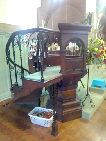 Pulpit by W. R. Dale at St Aldhelm's church, London N18, originally in St Mary Spital, London E1, in 2017.