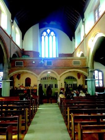 St Aldhelm's church, London N18 (W. D. Caroe, 1903), looking west, 2017.
