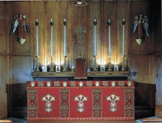 St Barnabas Walthamstow (1903) London E17, altar frontal designed by Caröe (1903 by the Society for the Advancement of Ecclesiastical Embroidery. Source: Litten, 2003,