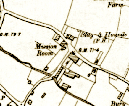 Location of a mission hall in Bury Street, Edmonton, north London in the mid 1890s. Source: Ordnance Survey map: London I.SE Revised 1894. Published: 1894-6.