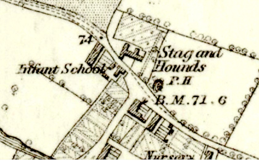 Location of an infant school in Bury Street, Edmonton, north London in the mid 1860s. Source: Ordnance Survey map: Middlesex VII Surveyed 1863-4. Published: 1879