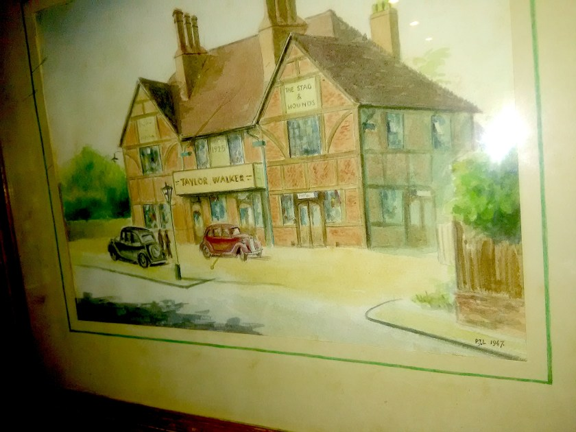 The Stag and Hounds, public house, Bury Street, Edmonton, north London. Water colourby PJL 1947. Source: private collection.
