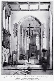 """""""Proposed New Chancel,. St. Benet's Church, Kentsh Town, CECIL G. HARE, Architect. Builder: Dorey and Co., Ltd., Brentford. Hangings: Watts and Co., 30 Baker street, W."""" [Source: Academy Architecture and Architectural Review. Vol. 33 (1908), 13.]"""