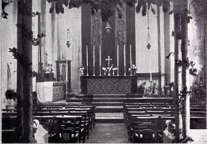 St Benet and All Saints, Kentish Town, London. Chancel, December 1927, during the rebuilding of the nave. [Source: 'In jubilaeo' (London: 1935)]