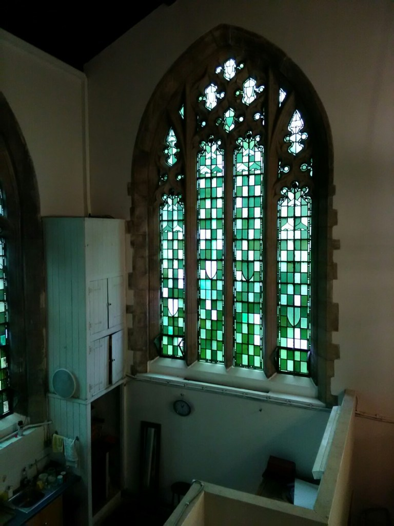 St Barnabas Southfields (London UK). North aisle, west end, window. [Source: Andrew Pink © 2019]