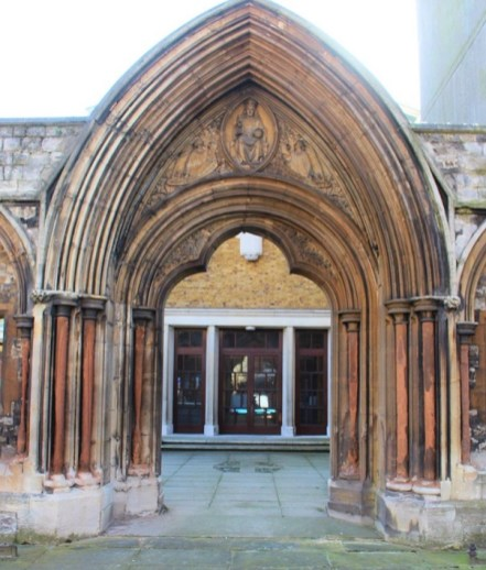 St Mary Newington, London, looking through the old west door to the new church, seen from Kennington Park Road c.2000