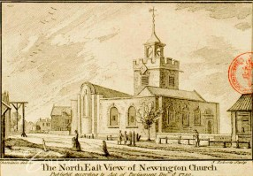 'North east view of Newington Church' (1750) after a painting by J-B. C. Chatelain (1710?-71?). [Source: https://collage.cityoflondon.gov.uk]