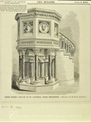 Pulpit (1868; no longer present), designed by George Gilbert Scott for St Matthias Stoke Newington, church. Source: The Builder, 6/6/1898.