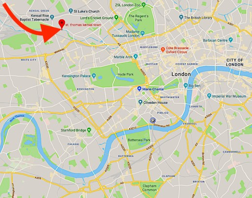 Location of the church of St Thomas Kensal Town, London W10 (UK)