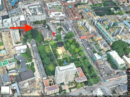 Aerial view of King Sqaure, London EC1 (UK)