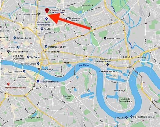 Location of St Saviour's Priory, London E2