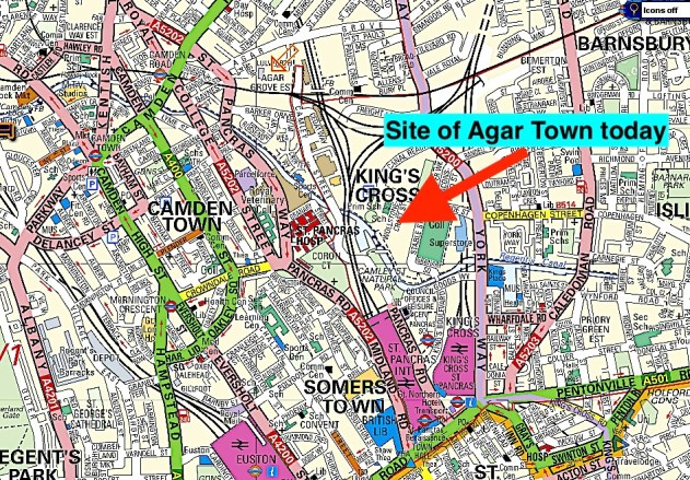 Map showing the site of Agar Town today