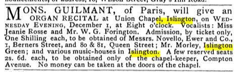 An organ recital at the Union Chapel, Islington, London (UK) [Source: The Musical Times, Vol. 21, No. 454 (Dec. 1, 1880)]