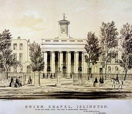 The Union Chapel, Islington, London, c1850. Artist: CJ Greenwood (?-?).