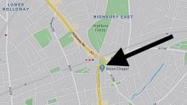 The location of the Union Chapel, Compton Terrace, London, UK.
