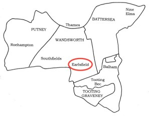 Sketch map of south-west London showing the location of Earlsfield.
