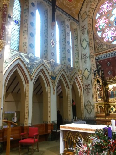 St Monica's Priory, Hoxton, London (UK); part of the restored decoration of the chancel