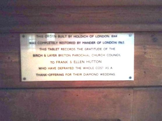 St Michael and All Angels church, Walthamstow, London E17. G. M. Holdich pipe-organ donor's plate, 1965.