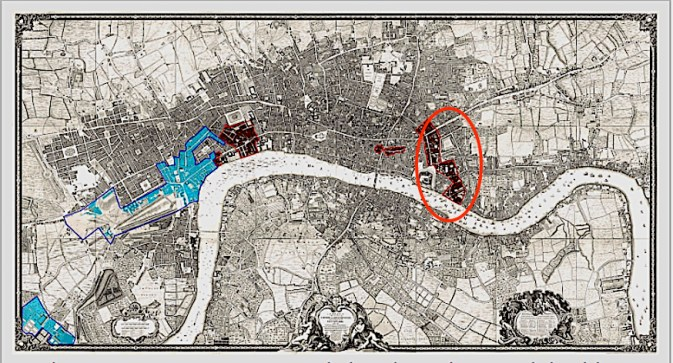 The location of the parish of St Botolph-without-Aldgate, shown on the 1741-5 map of London by John Rocque