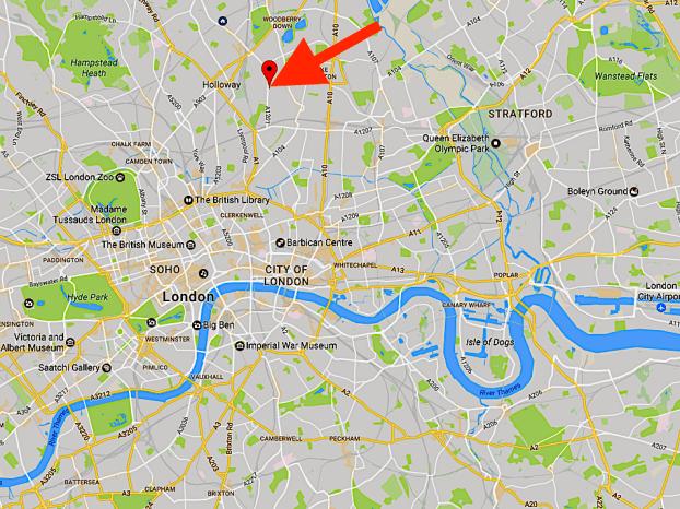 The location of St Joan of Arc church in Highbury, London