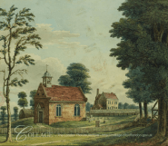 """View of St Mary and the Manor House at Twyford (c.1800) i """"Lysons' Environs of London""""."""