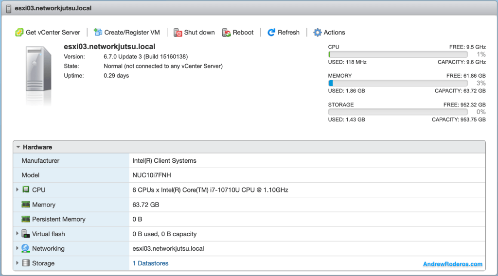 VMware ESXi on Intel NUC 10 (Frost Canyon)