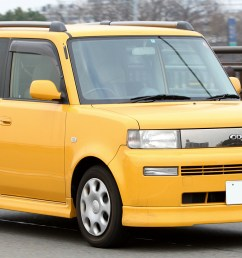 picture of the front view of a yellow toyota bb open deck [ 1280 x 720 Pixel ]