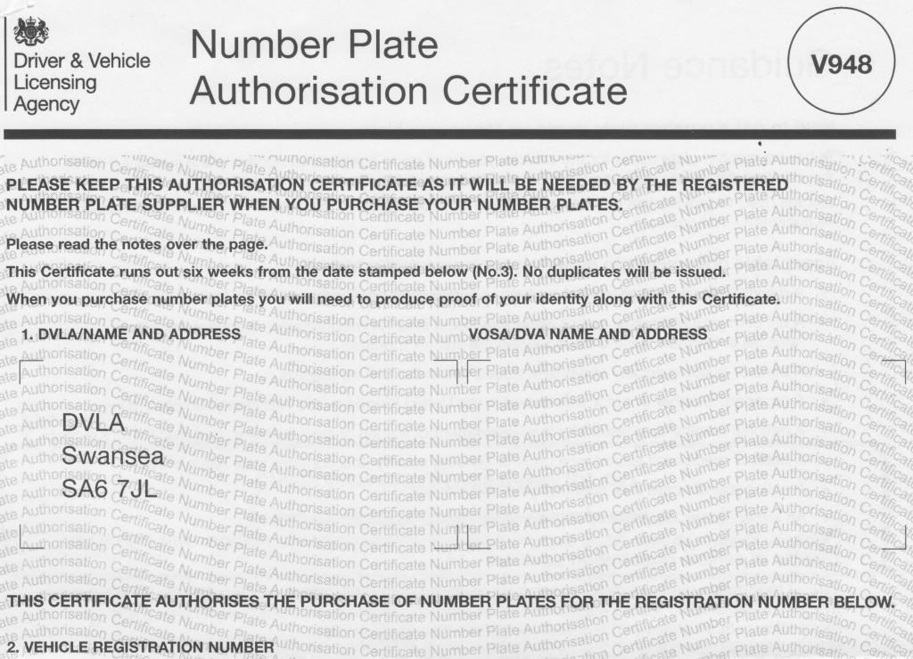 DVLA V948 japanese import car registration number