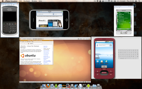 BlackBerry, Windows Mobile (on Windows 7), Ubuntu (via VMware Fusion), iPhone, Android, and—of course—Mac OS X