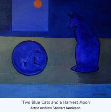 Two Blue Cats and a Harvest Moon
