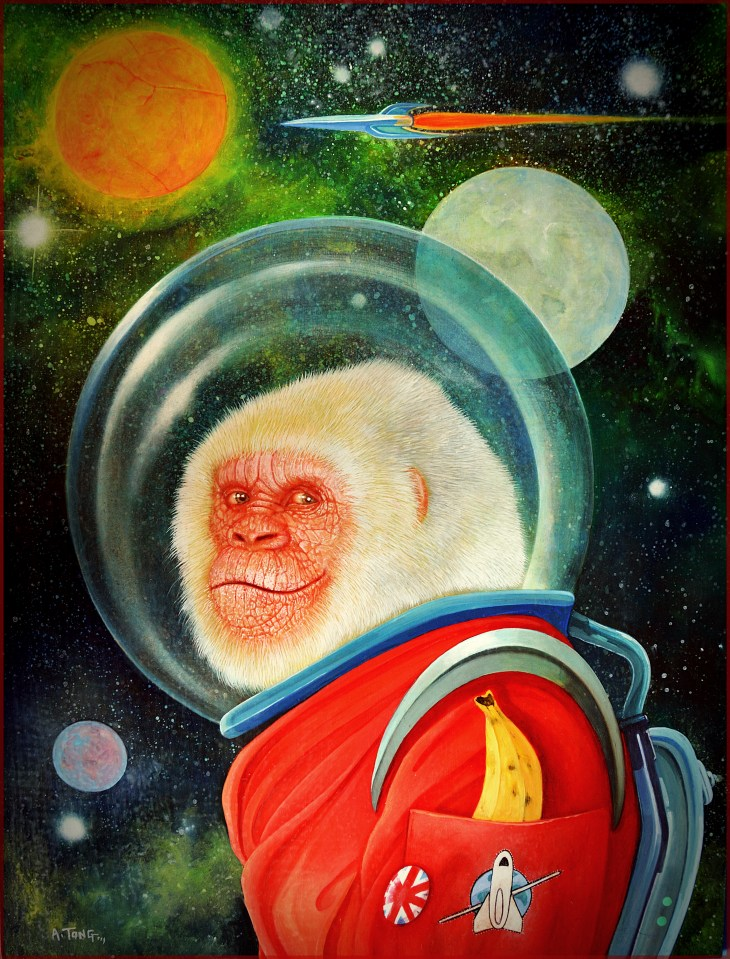 Oil painting of an ape dressed in space suit with a banana in his pocket and planets in the background