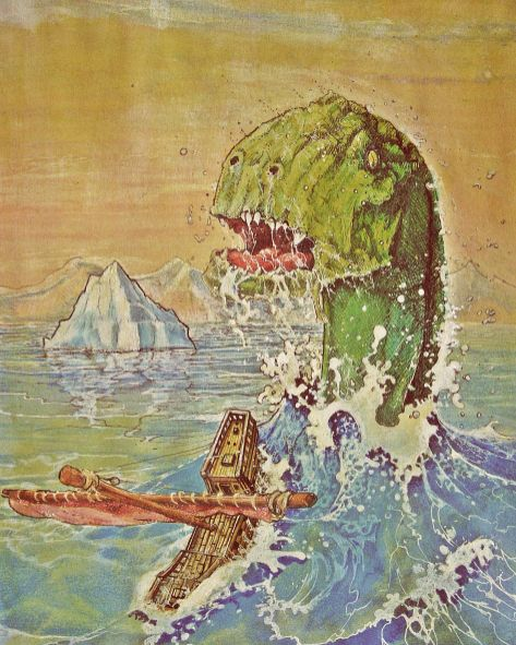 Painting of sea monster coming out of water next to a sinking ship