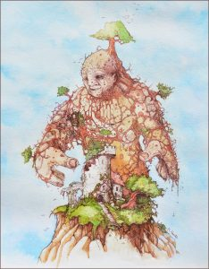 Drawing of a giant covered in trees and roots towering over a castle