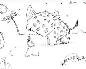 Drawing of tiny rhinoceros happily eating a cherry