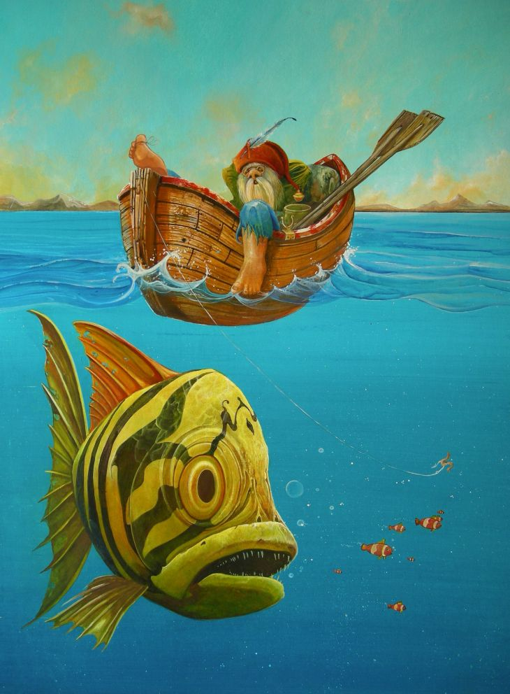 Acrylic painting of a gnome asleep in a boat with a trailing fishing line and a big fish underwater