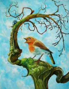 Oil painting with red robin on a gnarly tree