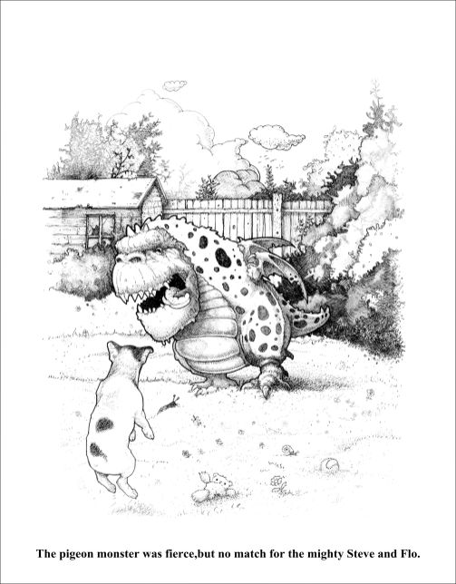 Pencil drawing of a garden with little dog barking at a monster