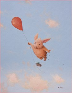 Watercolour painting of a scared-looking bunny and a hedgehog hanging of a flying red balloon