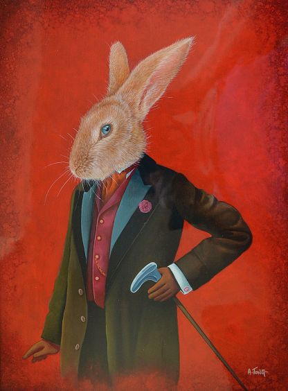 Oil painting portrait of a rabbit dressed in a suit holding a walking stick