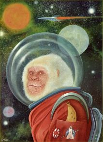 Oil painting of white-haired gorilla in a space suit with spaceship and planets in the background