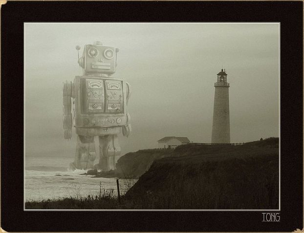 Digital collage of giant toy robot walking through the ocean toward a lighthouse
