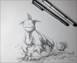 Fantasy sea creature perched on a rock surrounded by water