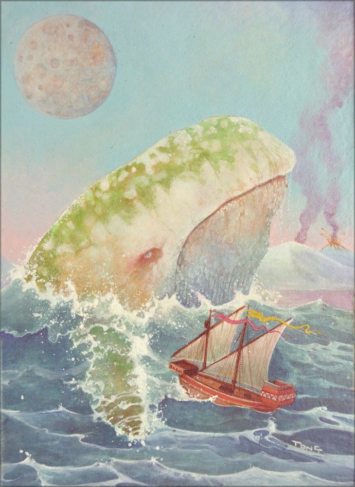 Giant whale surfacing next to a sailing ship with a planet in the sky and volcanoe in the background