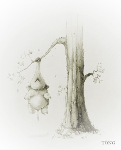 Pencil drawing of a dwarf elephant hanging off a tree on his trunk