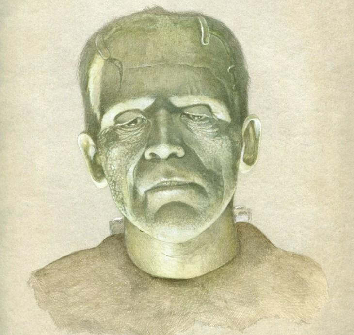 silverpoint artwork of Boris Karloff as Creature in the movie Frankenstein