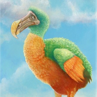 Colourful oil painting of dodo bird perched on small rock