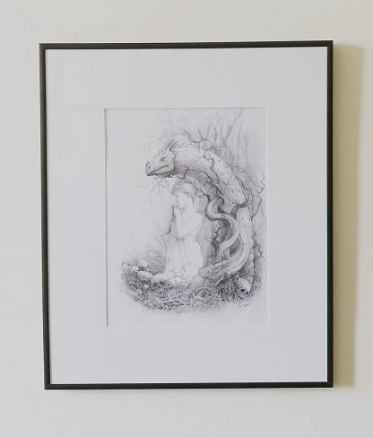 Framed drawing of the Lair of the White Worm
